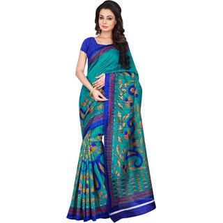 Aaina Green And Blue Bhagalpuri Silk Saree (FL-11102)