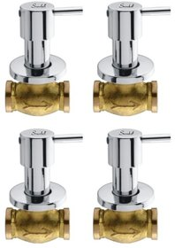 Snowbell Concealed Stop Cock Flora 20 mm. Brass Chrome Plated - Set of 4