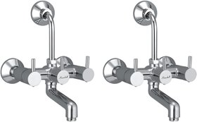 Snowbell Wall Mixer 2 in 1 Flora Brass Chrome Plated - Set of 2