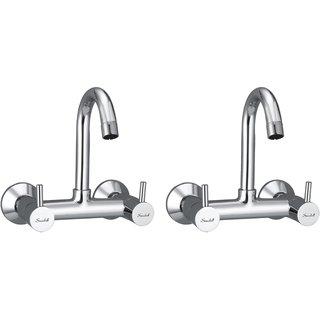 Snowbell Sink Mixer Flora Brass Chrome Plated - Set of 2