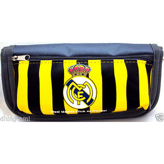 SPORTY PENCIL POUCH IN BLACK/YELLOW STRIPES VERY SPACIOUS