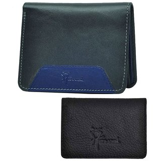 Hawai Black Bi-Fold Leather Combo Pack of Wallet and Card Holder