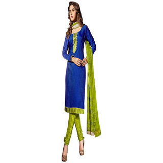 Aaina Blue  Green Chanderi Cotton Embroidered Dress Material (SB-3109)