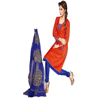 Aaina Orange  Blue Chanderi Cotton Embroidered Dress Material (SB-3111)
