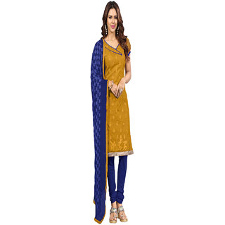 Aaina Yellow  Blue Chanderi Cotton Embroidered Dress Material (SB-3004)