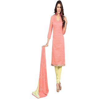 Aaina Pink Chanderi Cotton Embroidered Dress Material (SB-3007) (Unstitched)