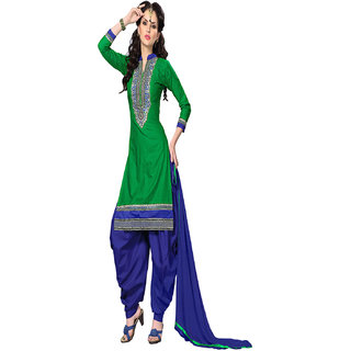 Aaina Green  Blue Cotton Embroidered Dress Material (SB-3097) (Unstitched)