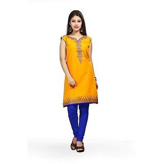 Yellow Embroidered Cotton Womens Kurti
