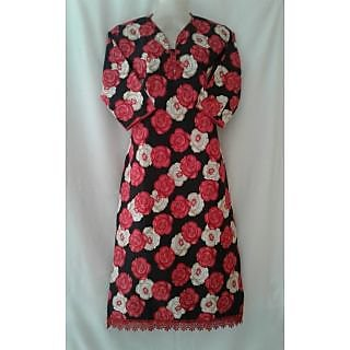 ma textiles red flower printed kurti