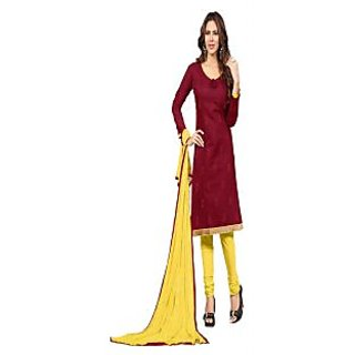 Florence Yellow And Maroon Chanderi Embroidered Salwar Suit Dress Material (Unstitched)
