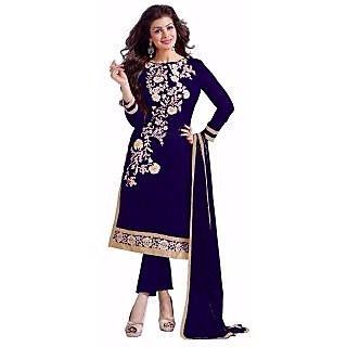 Trendz Apparels Dark Blue  Chanderi Cotton Straight Fit Salwar Suit