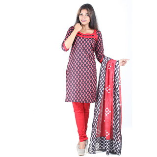 RangoliSF Cotton Printed Red Unstitched Salwar Suit Dress Material (RSFCR201)