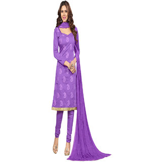 Aaina Purple Chanderi Cotton Embroidered Dress Material (SB-2998) (Unstitched)