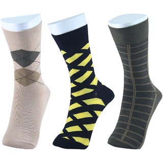 MM Fashion Pack of 3 Combed Cotton Regular Length Socks MMF -1C