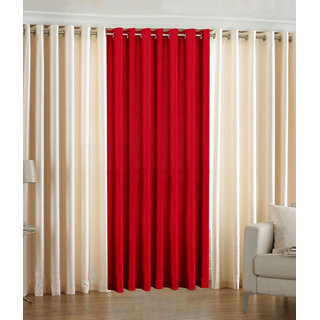 BSB Trendz Eyelet Cream  Maroon Door Curtain Set Of 3 (K3-25)