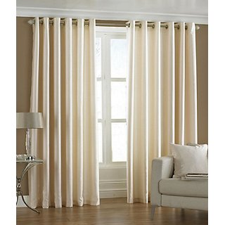 BSB Trendz Eyelet Cream Door Curtain Set Of 2 (P-91)