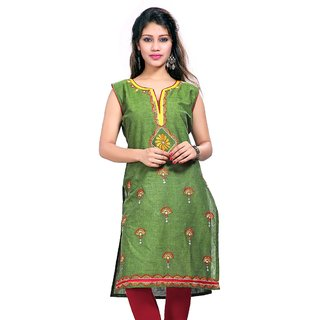 Valas Womens Cotton Embroidered Olive Green Long Kurti (3655)