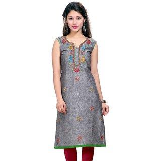 Valas Womens Cotton Embroidered Grey Long Kurti (3659)