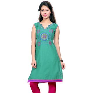 Valas Womens Lawn Embroidered Seafoam Green Long Kurti (3767)