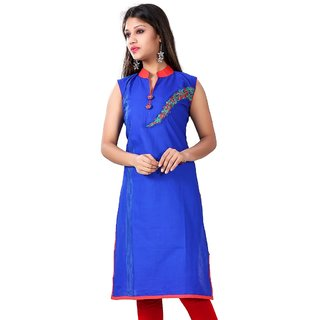 Valas Womens Cotton Printed Cobalt Blue Long Kurti (3309)