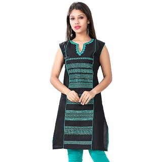 Valas Womens Cotton Printed Black Long Kurti (3310)