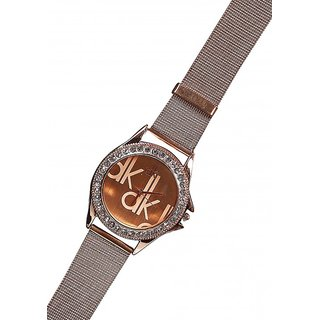 Women And Man  Gloden Dk Metal Fancy Wadding Watch Unisex