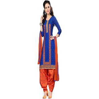 Aaina Blue  Orange Cotton Embroidered Dress Material (SB-3098) (Unstitched)