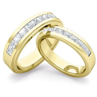 SILVOSKY 92.5 Silver Couple Band Yellow Gold Plated Ring Set SR31-P