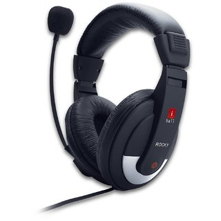 iball Rocky Headset Over Ear Headphone with Mic  BLACK  Headphones   Earphones