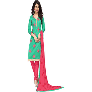 Aaina Green  Pink Chanderi Cotton Embroidered Dress Material (SB-3082) (Unstitched)