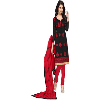 Florence Red And Black Chanderi Embroidered Salwar Suit Dress Material (Unstitched)