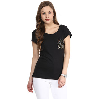Rose Vanessa London Girl Embellished Black Top