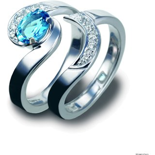 SILVOSKY 92.5 Silver Couple Band Rhodium Plated Ring Set SR43-P