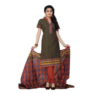 Minu Suits Black Cotton Printed Salwar Suits Dress material (Shivomani44011  )