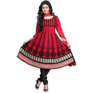 Minu Suits Red Cotton Embroidered Unstitch Salwar Suit. (Tajmahal1007  )