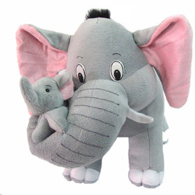 Tickles Grey Mother  Elephant with Single Baby Stuffed Soft Plush Toy 32 cm