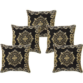 Furnishing Zone Chennile Black 16x16 Cushion Covers Set of 10