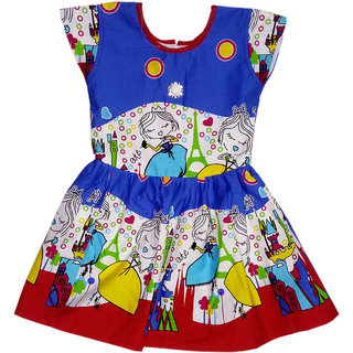 Kids dresses baby clothing Girls Cotton Frock Castle  Princess print