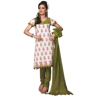 Minu Suits White Cotton Printed Unstitched Salwar Suit (SouthSpecial1005  )