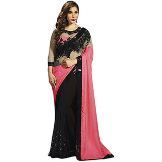 Kaamiri pink and black printed and border work saree
