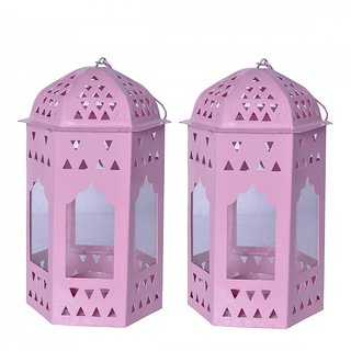 AnasaDecor Pink Metal Lantern set of 2