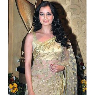 Bollywood Diya Mirza Gold Color Chiffon Georgette Saree