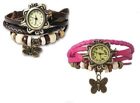 Butterfly ladies watch Combo Vintage Design Watches (BLACK  PINK) BrandedKing