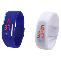 Combo Of Two Band Watches For Men Blue  White