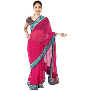 Daamann by Mohit Falod Pink Georgette Saree