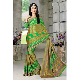 DesiButiks  Green Crepe Saree with Blouse