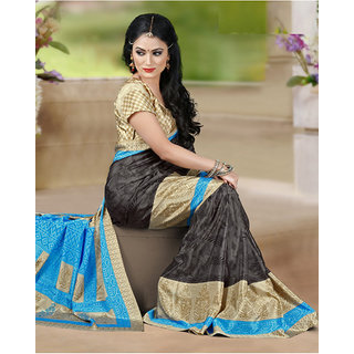DesiButiks  Multicolor Crepe Saree with Blouse  VSM6022
