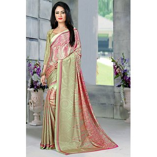 DesiButiks  Multicolor Crepe Saree with Blouse  VSM6031