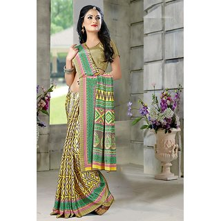 DesiButik Green Crepe Printed Saree With Blouse