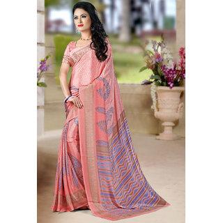 DesiButiks  Pink Crepe Saree with Blouse  VSM6048
